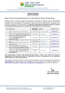Dates of various Examinations to be conducted by the National Testing Agency.
