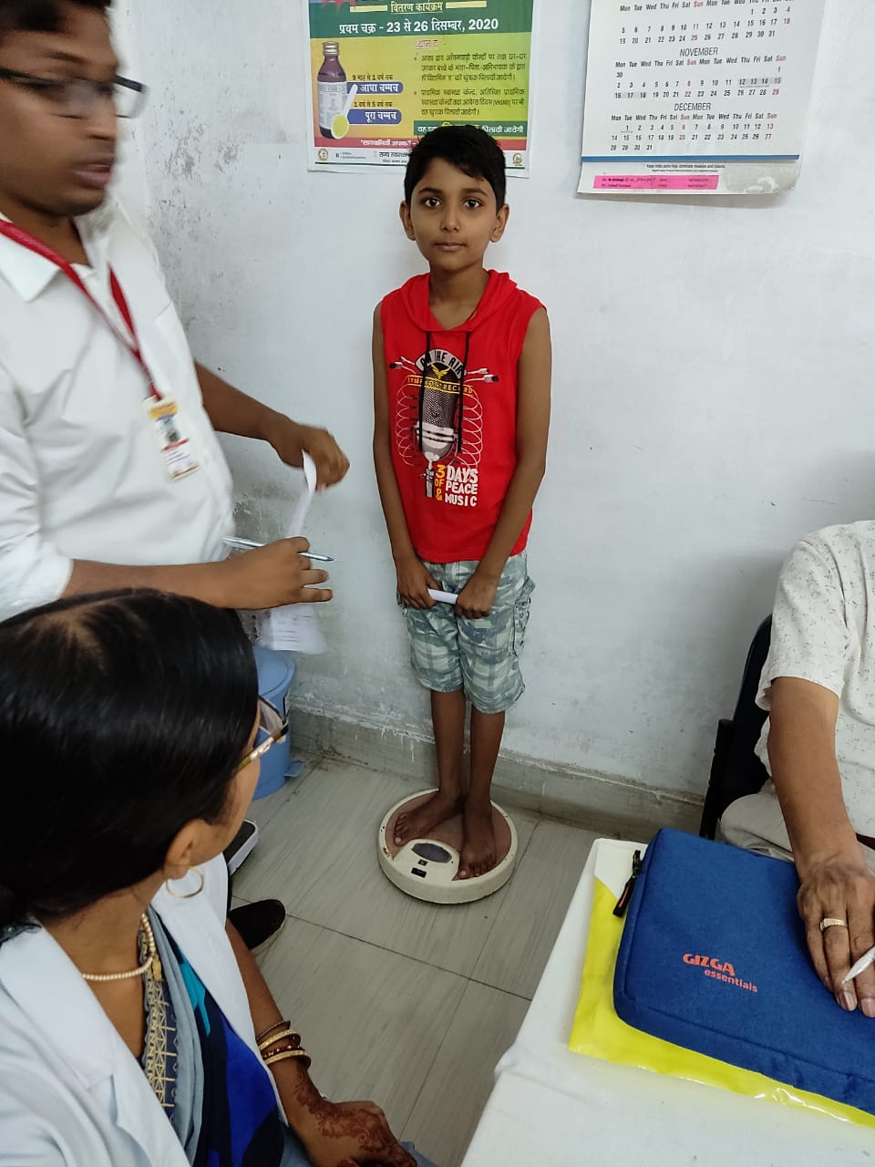 Height and weight measurement in OPD Under Poshan Mahh 11.9.21