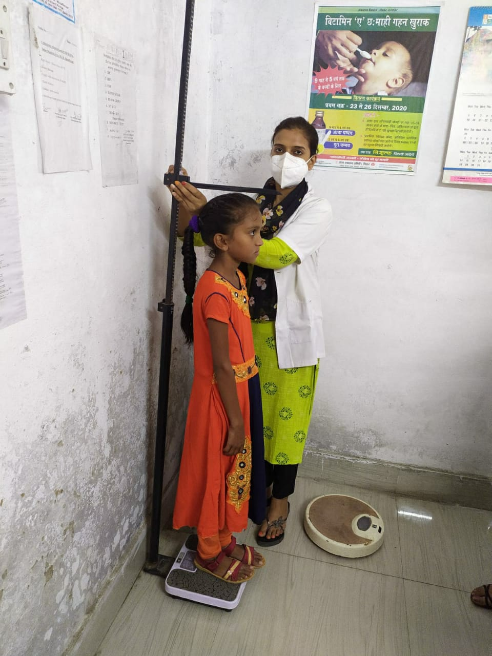 Measuring height and weight of children under poshan mahh 2021 to assess malnutrition on 08/09/2021